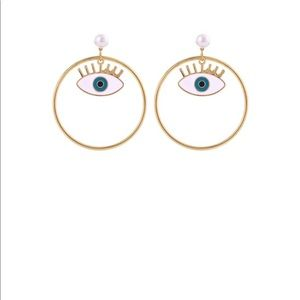 Gold Round Hoop with Eyeball Post Earrings BUNDLE